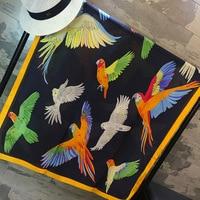 Uccello del Pappagallo della Signora di Modo Stampato Sciarpe Di Seta Grande Sciarpa Donne Regali Decorazione Varietà Funzione Evita Bask in Capo DW4