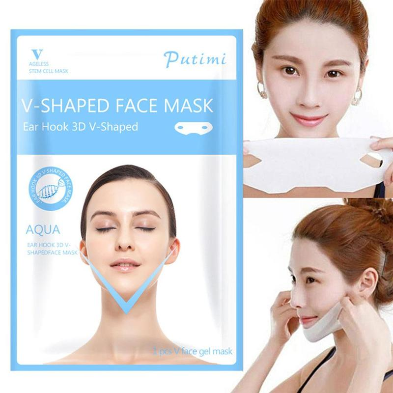 Women V Shaped Facial Mask Chin Cheek Lift Up Slimming Face Mask With Anti-wrinkle Cream Skin Care Products Tools
