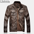 Mens PU Leather Jackets Windproof Zippers Stand Collar Warm Winter Cotton Down Coats Fashion Biker Clothes Black Brown K283