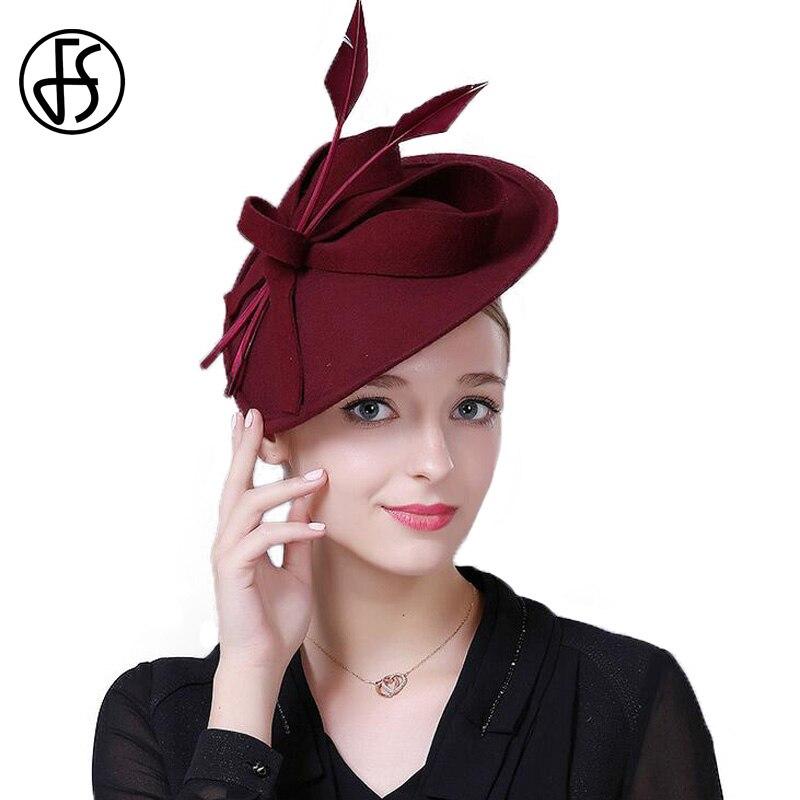 bd8403a02d548 QPALCR Vintage sombrero de las mujeres sombrero elegante damas arco  sombreros de fieltro de lana cena