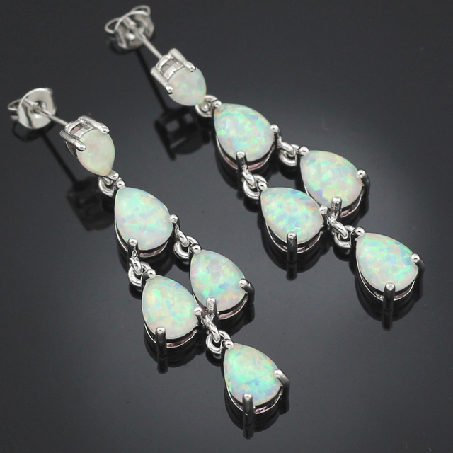 HAIMIS Nieuwe Collectie Elegante Synthetisch Wit Fire Opal Stones Verzilverd Oor Oorbellen OE212 Gratis Geschenkdoos