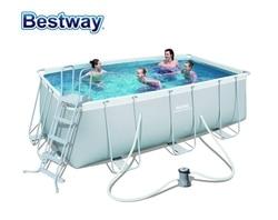 56456 Bestway 412*201*122cm Rechteckige Super Starke Stahl Rohr Framing Pool Set(Filter + 48 leiter) große Oberirdisch Pool