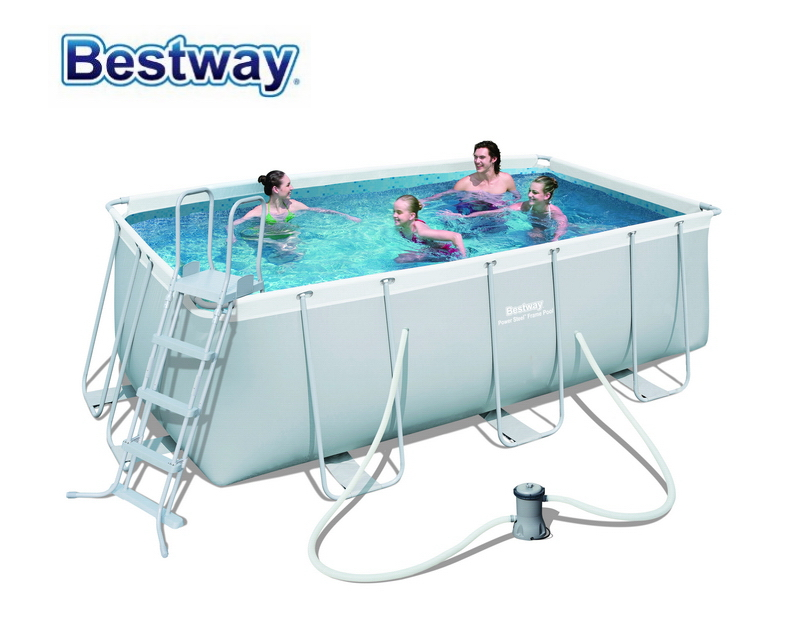 "56456 Bestway 412*201*122cm Rectangular Super Strong Steel Tube Framing Pool Set(Filter+48"" Ladder)Big Above Ground Pool"