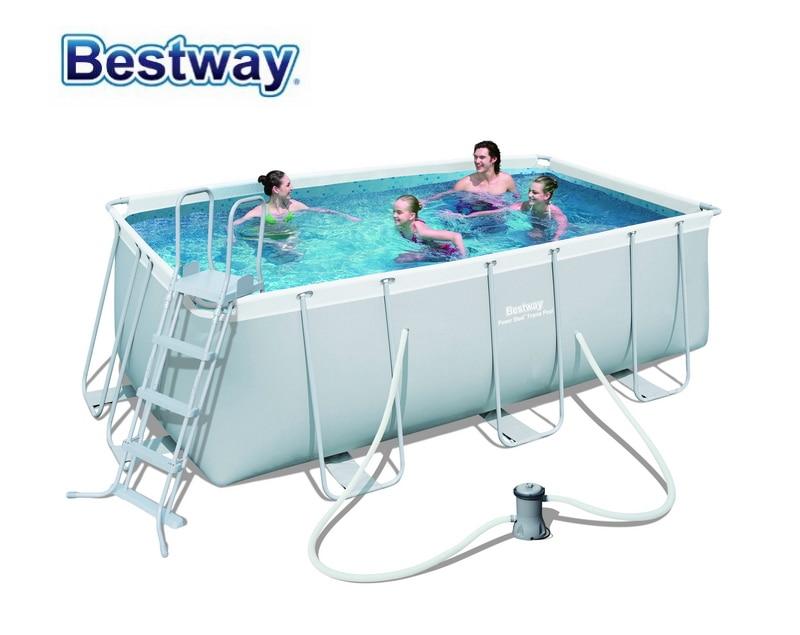 56456(Europe) Bestway 412*201*122cm Rectangular Super Strong Steel Tube Framing Pool Set ...