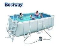 56456(Europe) Bestway 412*201*122cm Rectangular Super Strong Steel Tube Framing Pool Set(Filter+48 Ladder)Big Above Ground Pool
