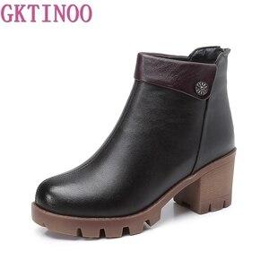 Image 2 - Gktinoo女性のブーツの正方形ヒールプラットフォームzapatos mujer本革腿の高パンプスブーツオートバイの靴