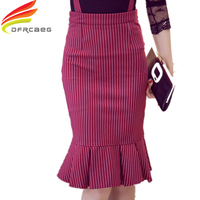 S 5XL Plus Size Saia Longa 2015 Winter Fashion Striped Suspender Skirt Women High Waist Ruffle