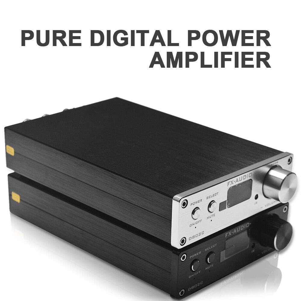 FX-Audio D802C Hi-Fi Bluetooth Interface Type USB/AUX/SPDIF/Coaxial Pure Digital Audio Amplifier 24Bit/192KHz 80W*2 OLED Display hi fi cm6631a 192khz to coaxial optical spdif convertor dac board 24bit usb 2 0