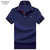 SHABIQI мужская одежда 2019 брендовая мужская рубашка мужские Поло рубашка мужская с коротким рукавом вышитая рубашка Поло большие размеры 6XL 7XL ...