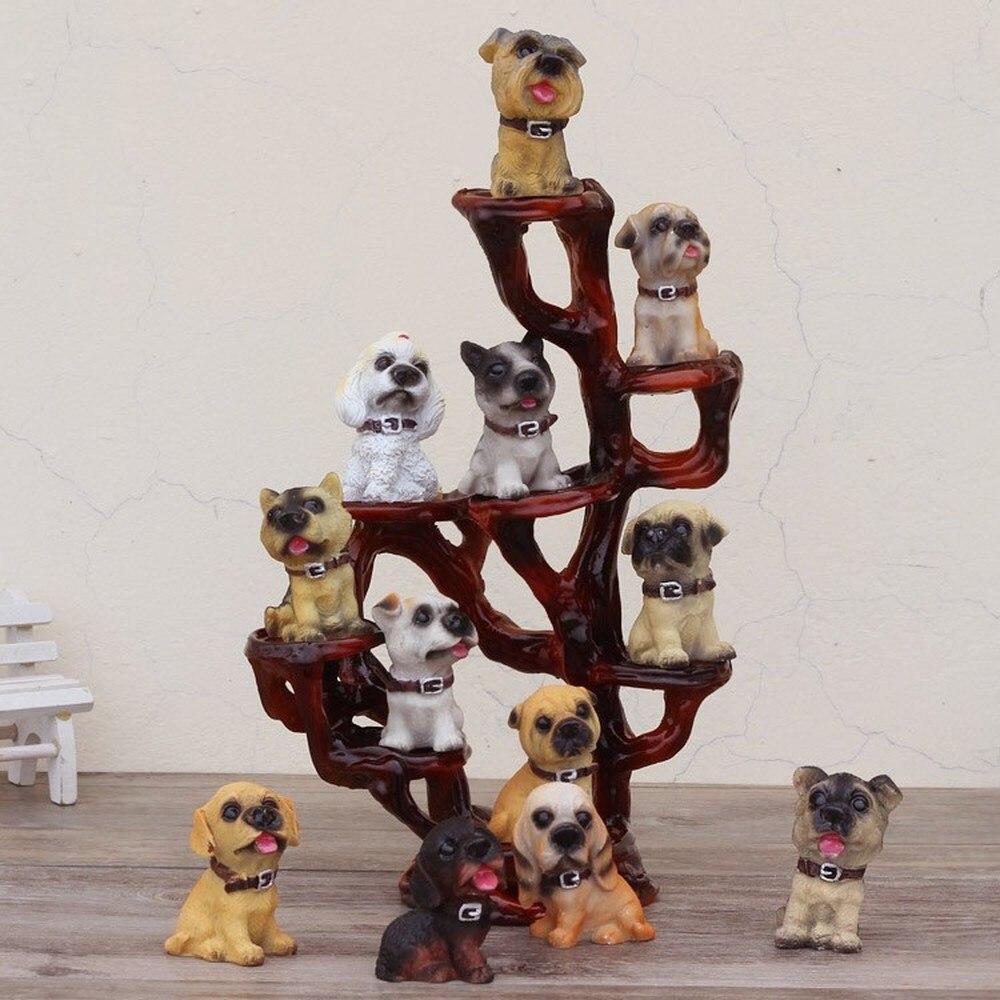 1 pièces décoration de la maison 12 chien simulation chien moule/animal résine affichage artisanat beau chien (contient des chiens) LU622219