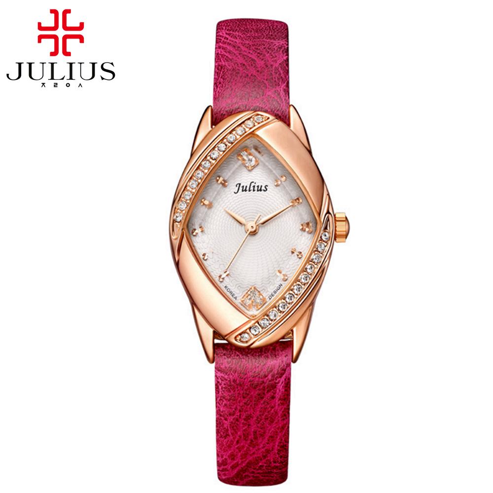 Prix pour Nouveau luxe noble dames en cuir montre-bracelet femmes robe strass montres mode casual montre à quartz Top marque Julius 660 horloge