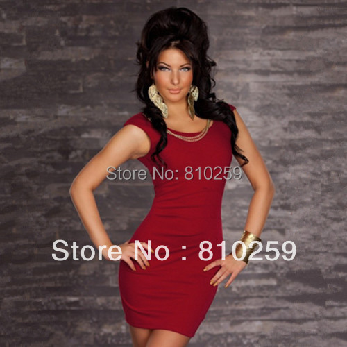 864 free shipping 2014 women new fashion exotic red black blue sexy party  clubwear cocktail dress party dress + chain 36d42e4d8c18