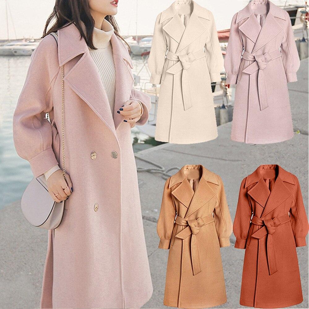 WOMAIL Winter Overcoat Wool  long Sleeve Womens Winter Lapel Wool Coat  Jacket Long Sleeve Overcoat Outwear 18OCT17