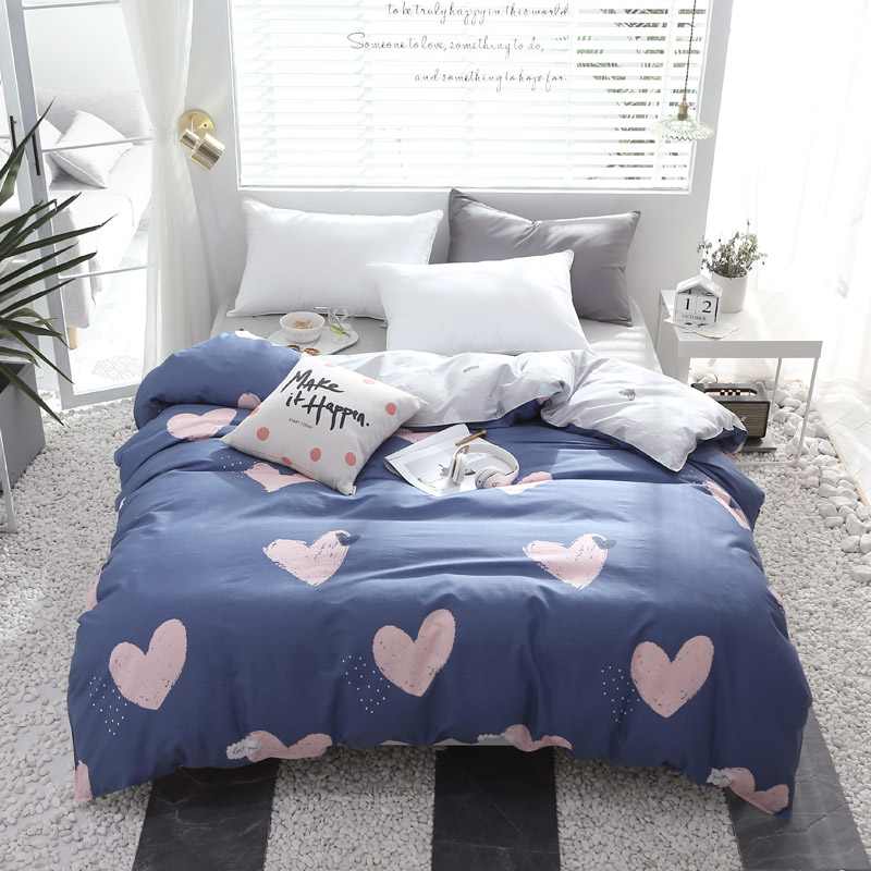 Princess style Bedding set blue pink love duvet cover quilt cover comfortable home textile twin full queen king Good quality|Duvet Cover| |  - title=