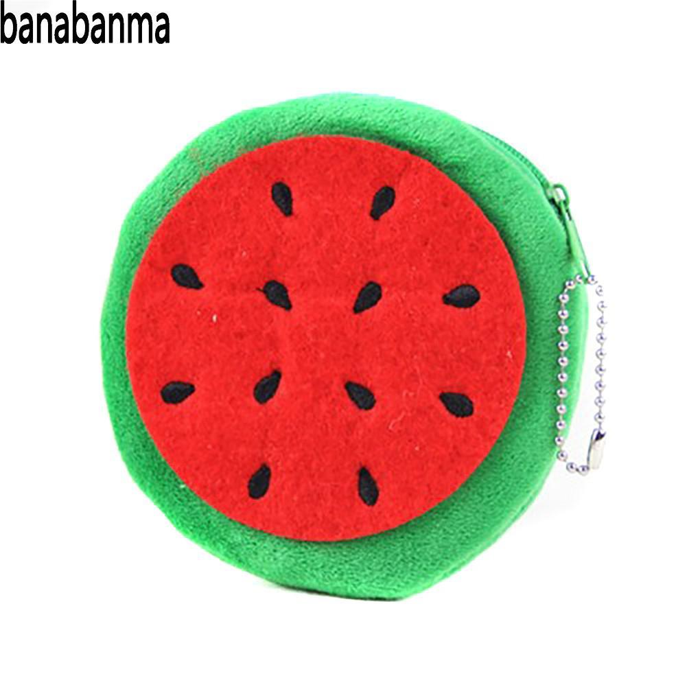 Banabanma Mappe Der Frauen Nette Cartoon Obst Hand-nehmen Wassermelone Apple Brieftasche Mini Plüsch Geldbörse Brieftaschen Und Geldbörsen Zk50