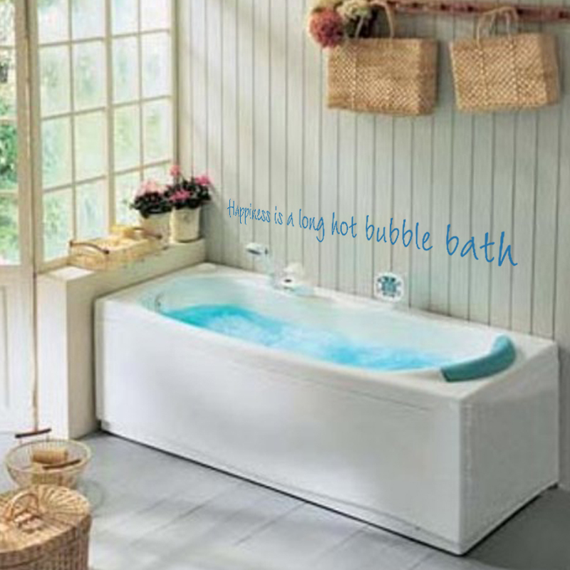 Vinyl Wall Decal Happiness is a long hot bubble bath Bathroom Bath ...