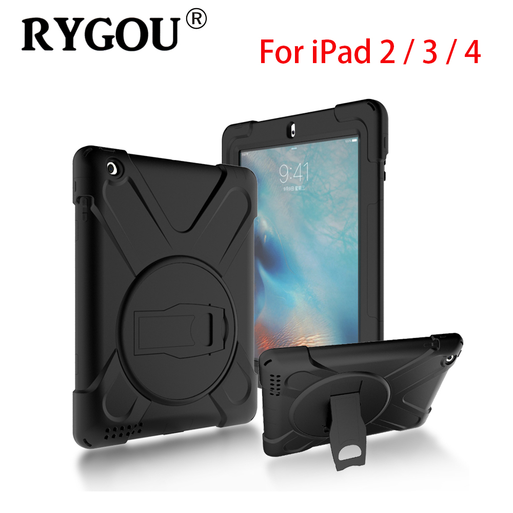 RYGOU Full Body Protective Case For Apple iPad 4 3 2 Impact Resistant Hybrid Heavy Duty Armor Defender Cover for iPad4 Kids Case angibabe 3 in 1 forest tree pattern heavy duty hybrid silicone cover case for iphone 6 multiclored