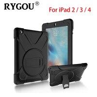 Rygou كامل الجسم حالة وقائية لتفاح ipad 4 3 2 تأثير الهجين الثقيلة درع المدافع غطاء مقاوم لل ipad4 الاطفال حالة