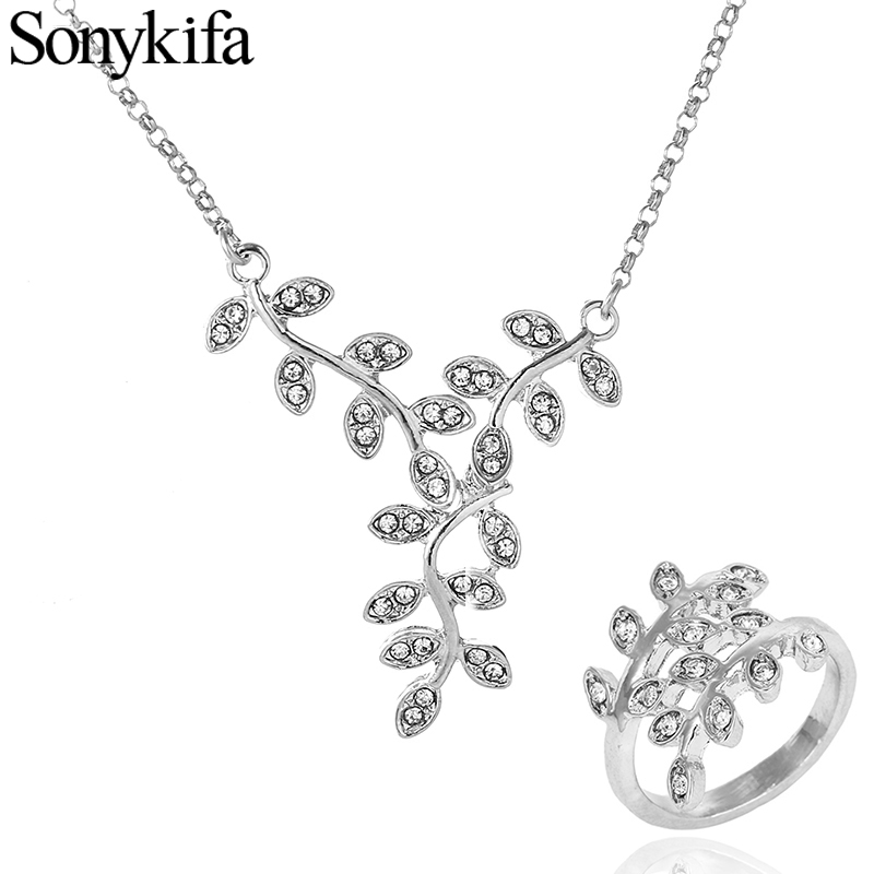 Hot Sale Silver Color Crystal Pendant Pandora Jewelry Sets RI + NE Leaves Elegant Ring Sets Necklaces Women Wedding Gifts