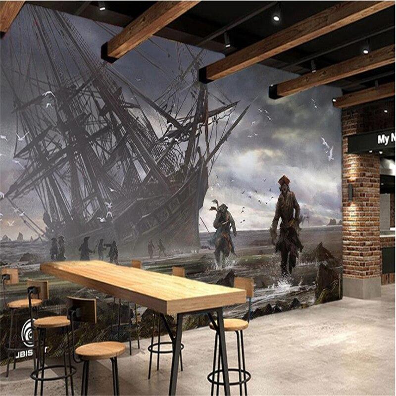 Beibehang Pirate Boat Bar KTV Tooling Background Wall Customized Large Mural Wallpaper Papel De Parede Para Quarto