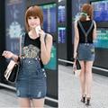 Nuevas mujeres de moda denim faldas, Vintage lavado Ladies ' falda ocasional Sling correa Blue jeans falda envío libre W3005