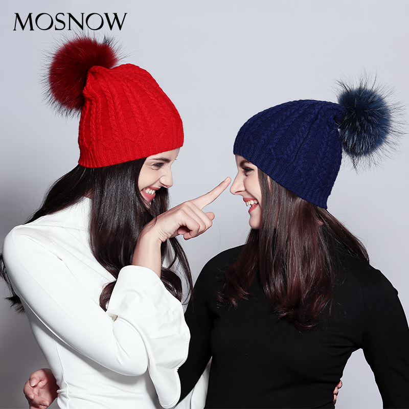 MOSNOW Wool Women Winter Hat Female Casual Raccoon Fur Pom Poms Stripe New 2018 Knitted Women's Hats   Skullies     Beanies   #MZ707B