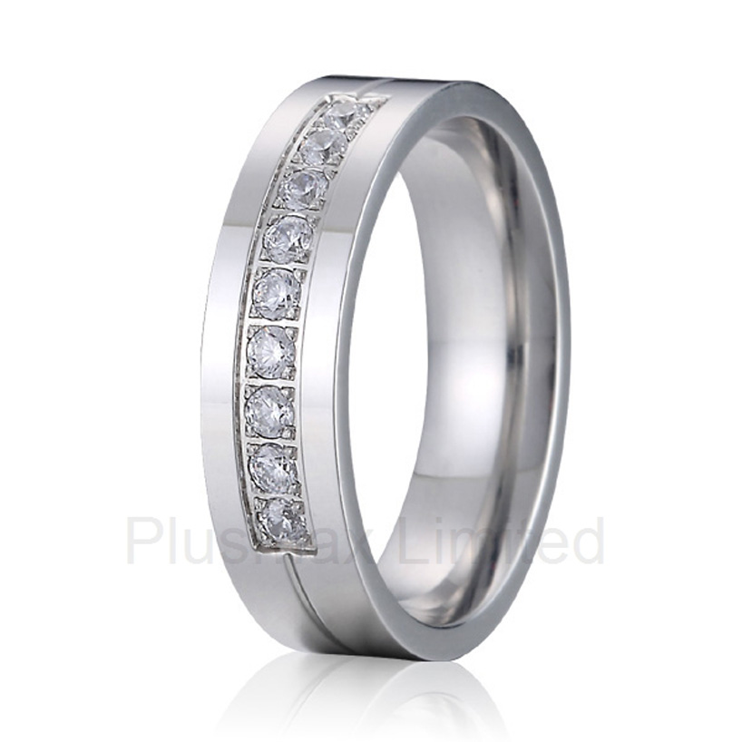 best china factory cheap pure titanium jewelry rings 6mm female male cubic zirconia unisex wedding band