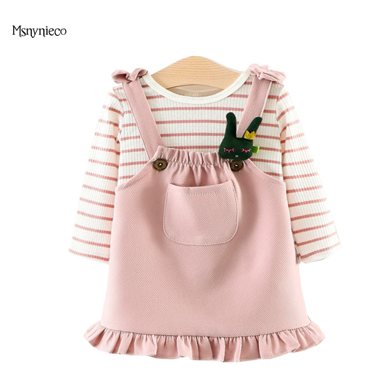 Baby Clothes Sets 2017 Autumn Toddler Girls Clothing Set  Long Sleeve Stripe T-Shirt +Strap Dress Kids Suits for Girls 0-2 Years