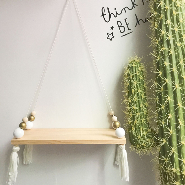 Nordic Style Wooden Tassel Beads Hanging Shelf
