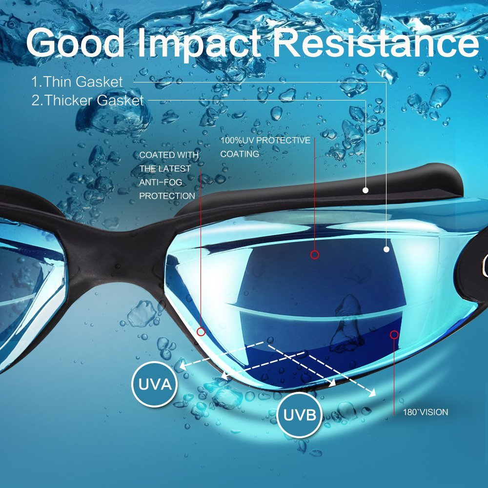UV Adjustable Adult Prescription Swimming Goggles HD Anti-Fog Professional Swim Glasses 2