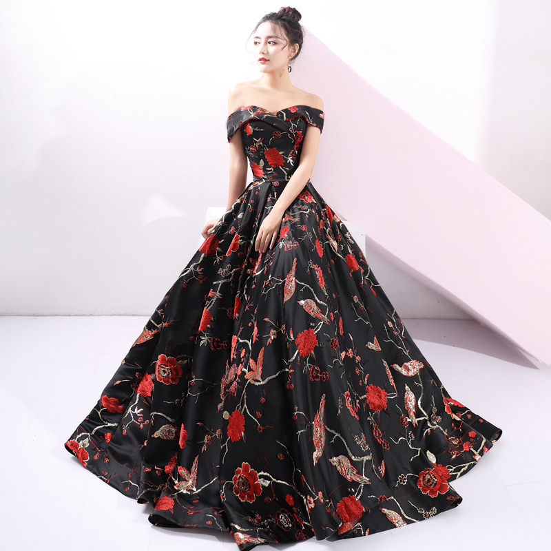 Vivian's Bridal High end Banquet Sexy Evening Dress Fashion Floral Printing Sweetheart Off Shoulder Girl Homecoming Dress