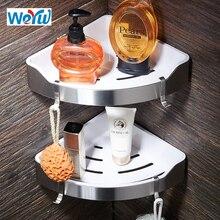 WEYUU Stainless Steel+ABS Plastic Bathroom Shelves Triangle Basket Wall Mount Shampoo Soap Cosmetic Shelves Storage Organization