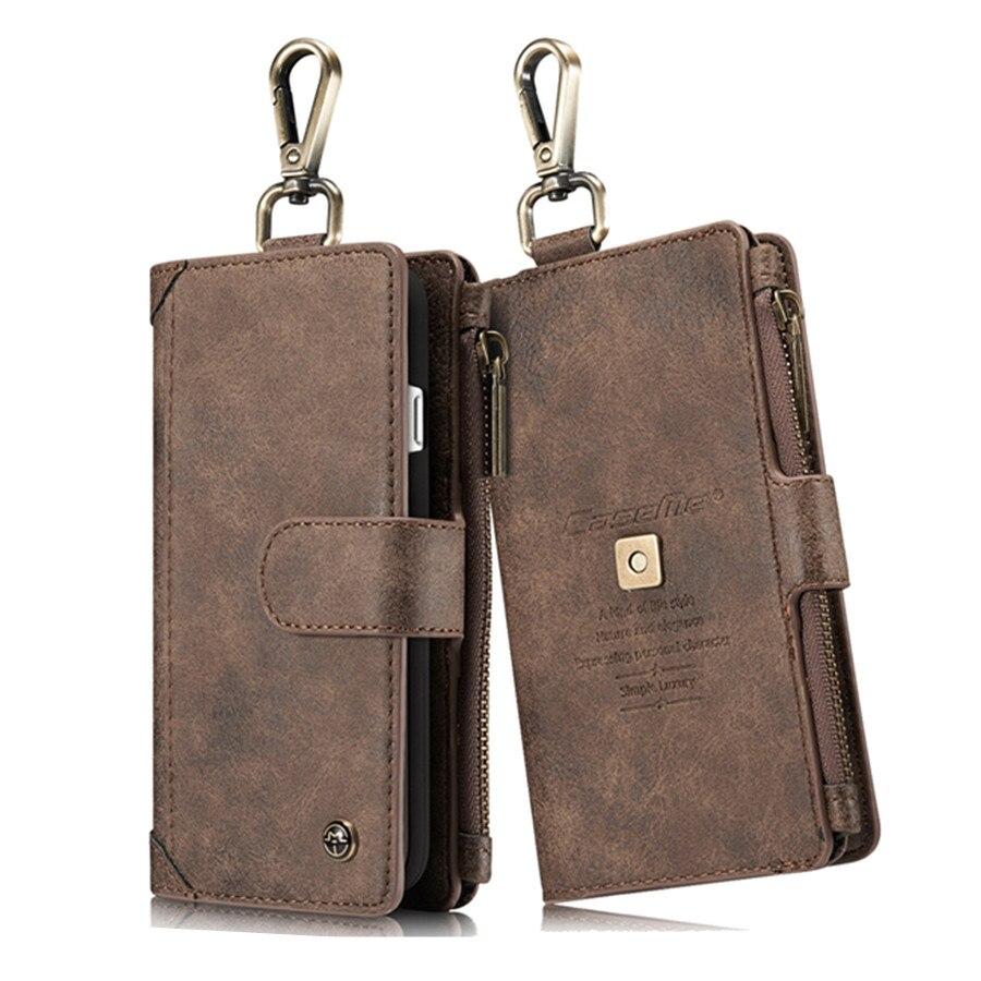 Кожаный чехол для iPhone 7 многофункциональный бумажник крышка 2 в 1 съемная телефон сумка на молнии для iphone 8 Магнитный стенд чехол