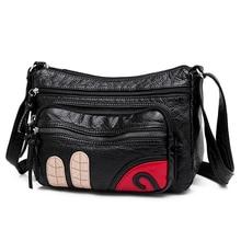 Floral Shoulder Bag Soft PU Leather Black Messenger Contracted Joker Crossbody for Women Cute Ms Temperament Leisure