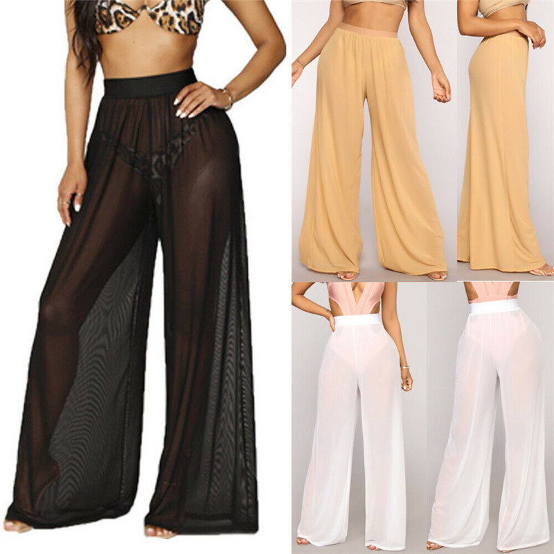 Stylish Women's Sheer Mesh   Pants   See-Through Beach Suit Trousers High Waist Loose   Wide     Leg     Pants   Black White Plus Size