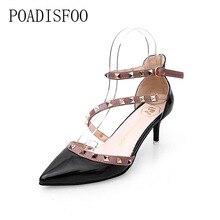 Poadisfoo 2017 женщин Обувь модные острый носок заклепки туфли-лодочки на тонком каблуке 6 см с перекрестной шнуровкой на высоком Туфли на каблуке. XL-905