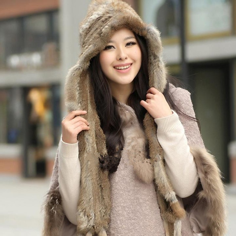 Warm Winter Scarf Women Knit Wool Real Rabbit Fur Scarf Lady Casual Scarves Wraps Accessories