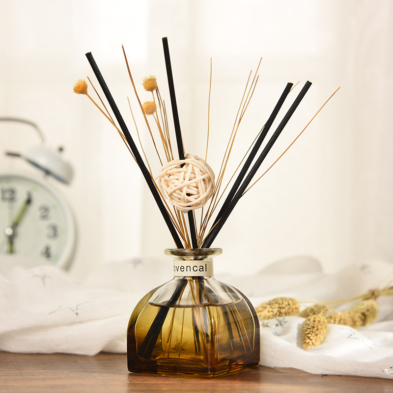50ML Reed Diffusers Sets Brown Bottle Rattan Sticks 50ML Aromatic Oils Perfume Aromatherapy Fragrance Flavoring For Home J002-01