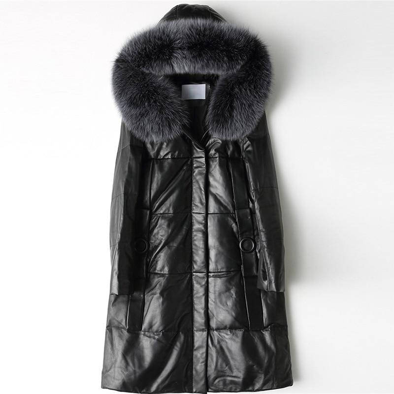 2019 Winter Genuine Leather Jacket Women Fox Fur Colar Sheepskin Coat Ladies Leather Down Coats Korean