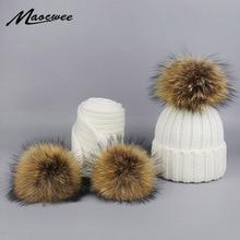 Детские вязанные шарф и шапка, комплект с помпонами, Роскошные зимние теплые вязаные шапки и женские зимние шарфы, лыжная шапка с помпоном