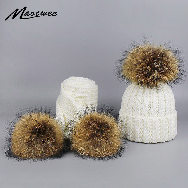 Children knitted Scarf Hat Set with Pompons Luxury Winter Warm Crochet Hats and Scarves Women Winter Skiing Hat Cap with Pom Pom