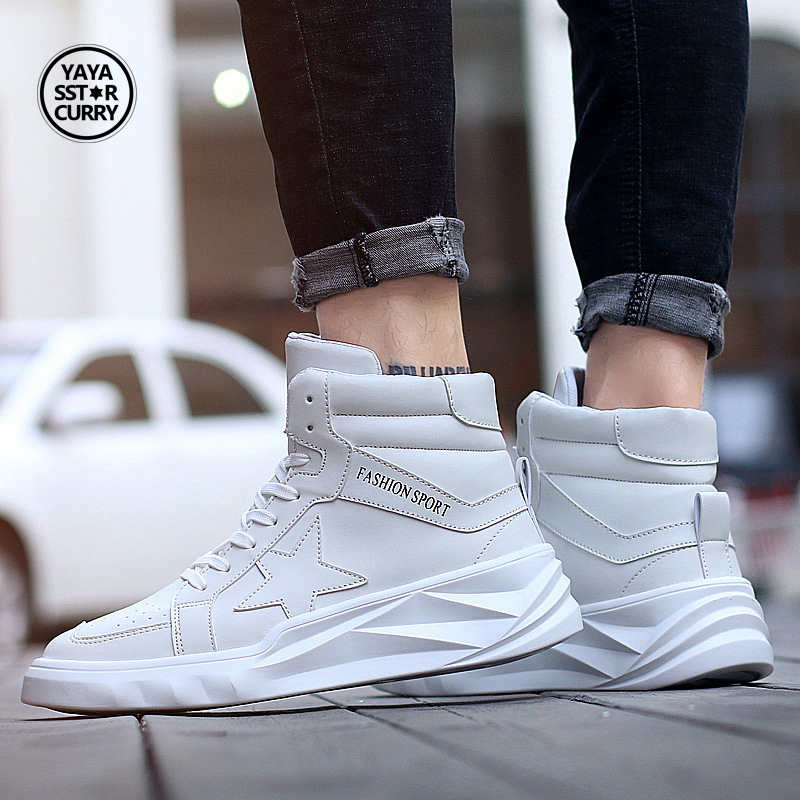 2017 Hot Men Running Shoes White Sport Shoes Male Autumn/Winter Ankle Boots Athletic Shoes High Top Men Sneakers Walking Shoes