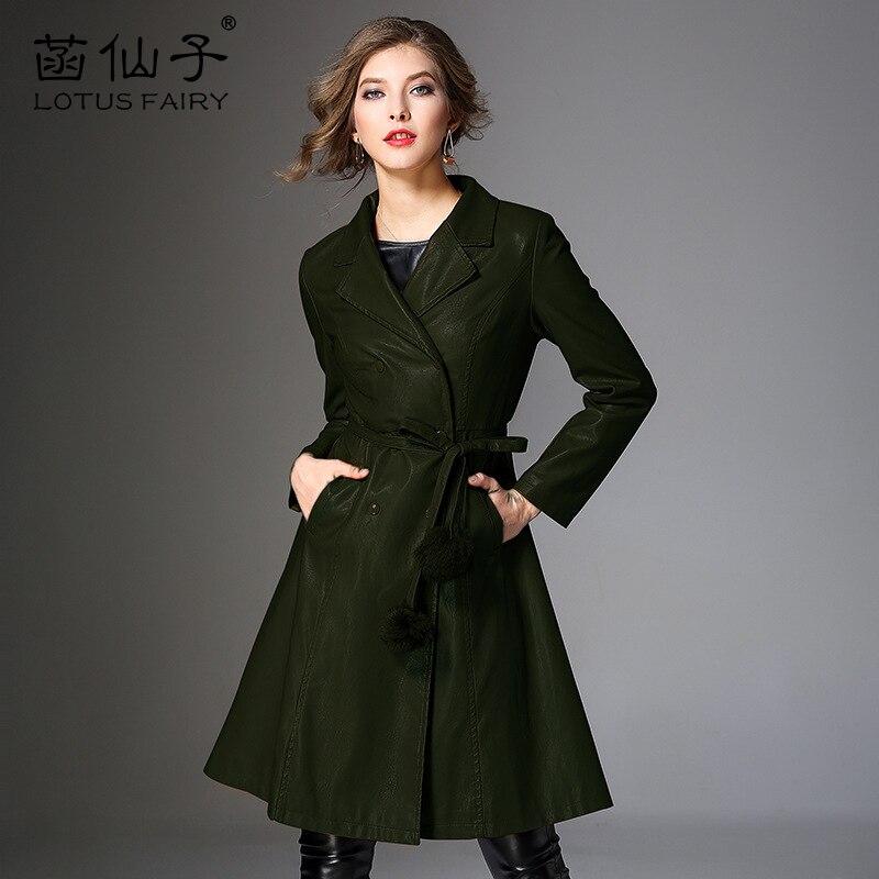 green Pu Outwear vent Femmes Cuir Faux camel Longues De Double La Manteau Fille Bureau Plus Dame Veste Coupe À En Black Manches Moyen Taille Boutonnage Mince TE0xwSq0