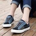 Мужчины корейски мода квартиры зашнуровать свободного покроя джинсовые мужской обуви жан обувь цвета Большой размер 35 - 43 SXQ0603