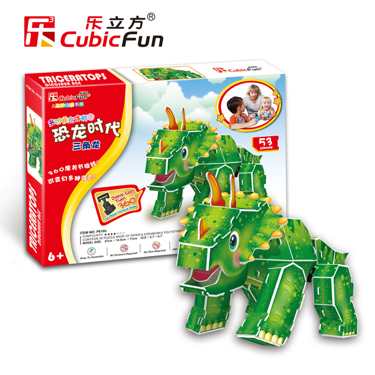 Кэндис Го CubicFun 3D Puzzle Модель собрать здание игра DIY игрушка p619h Юрского периода Детская ручной работы Трицератопс подарок на день рождения