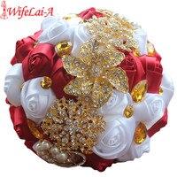 Vino Rojo Blanco Rosas de Oro Broche Ramos de Novia Mano Que Sostiene La Flor de Oro de Cristal Dama de Honor Ramos de Novia de Seda W227 Personalizado