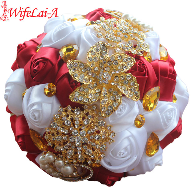 Wine Red White Roses Gold Brooch Bridal Hand Holding Flower Bouquets ...