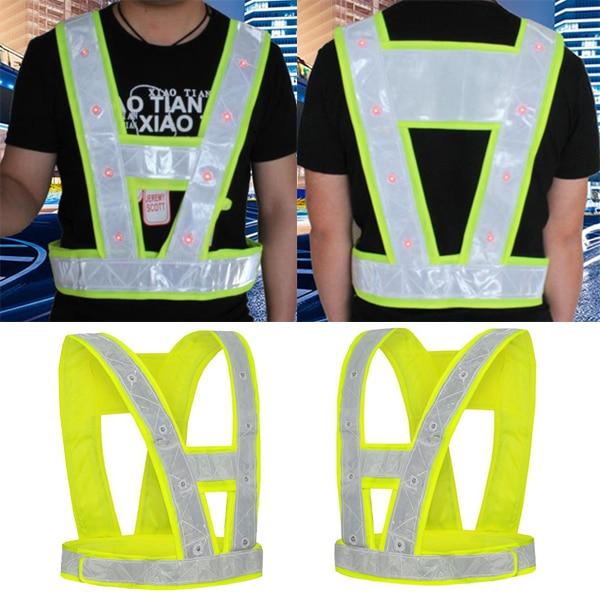 SPARDWEAR EN471 Hi vis 16 LED Light Up Safety Reflective Stripes Vest Traffic Night Safety Warning Clothing led safety vest цена