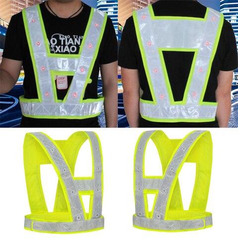 spardwear en471yellow hi vis 16 led light up seguranca reflexiva stripes vest roupas noite de