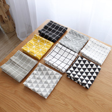 FullLove 4PCS/Set 40*60cm Nordic Cotton Table Mat Placemat Black Plaid Tea Coffee Pad Kitchen Towels Home Textile (Random Color)